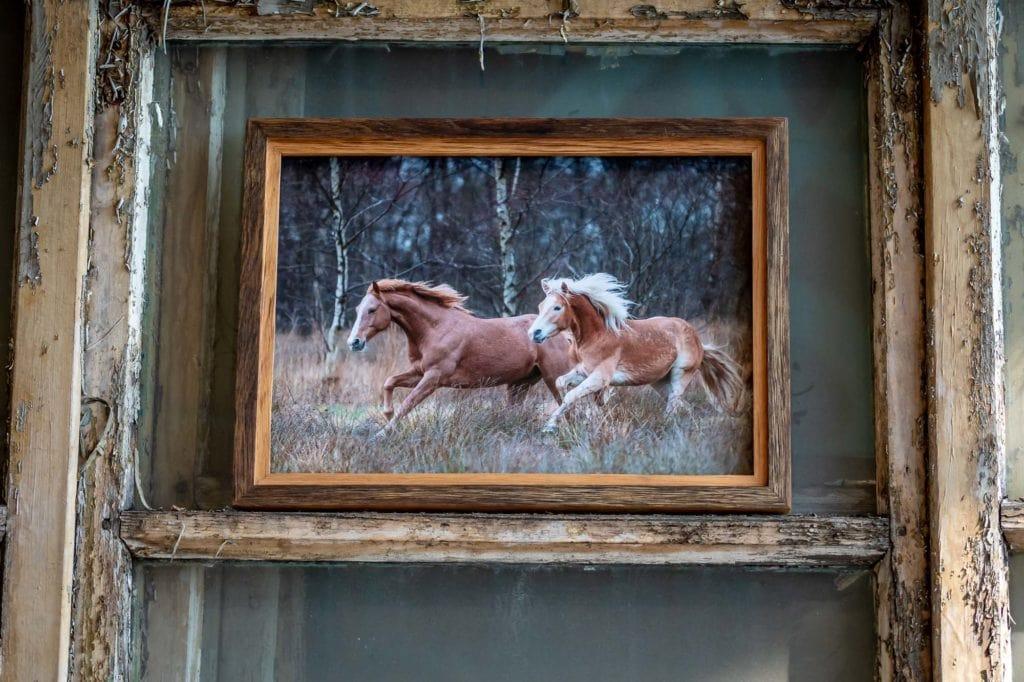 Holzbilderrahmen handgefertigt mit Pferden
